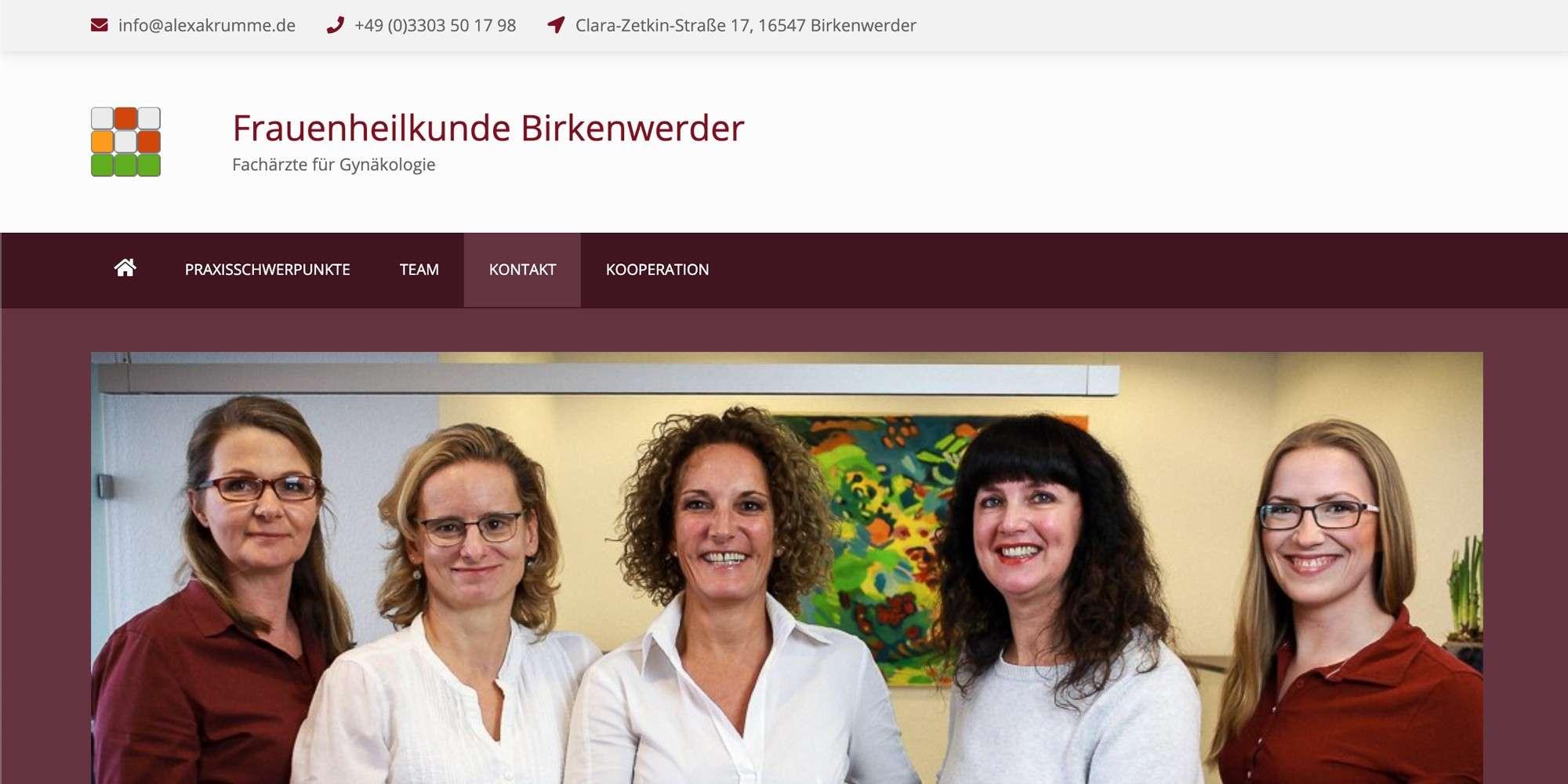 Merlin Rose Webdesign Referenzen - Frauenheilkunde Birkenwerder